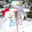 Snowman couple in love — Foto de Stock