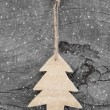 Wooden christmas carved tree — Stock Photo