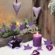 Christmas decoration in violet — Stock Photo