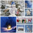 Christmas collage in blue — Stock Photo