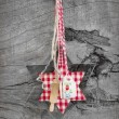 Red old checkered christmas decoration — Stock fotografie #33851365