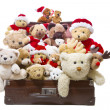 Old teddy bears in old suitcase — Stock Photo