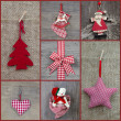 Red checkered christmas decoration — Stock Photo