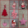 Red checkered christmas decoration — Stok fotoğraf #33853299
