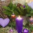 Violet or purple christmas decoration  — Стоковая фотография