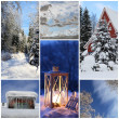 Stock Photo: Winter collage with snow, latern, forest