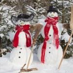 Snowman couple in winter — Stock Photo