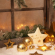 Christmas ornaments on window sill — Stock Photo