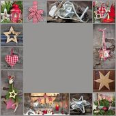 Classic decoration ideas for christmas frame — Stok fotoğraf