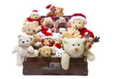 Old teddy bears in old suitcase — Photo