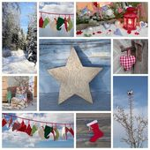 Christmas winter collage of decorations — Foto Stock