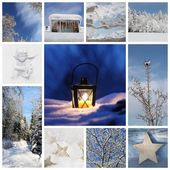 Winter collage with snow, forest — Stockfoto