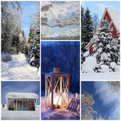 Winter collage with snow, latern, forest — Stock Photo