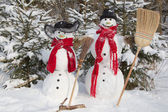 Snowman couple in winter — Stok fotoğraf