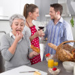 Happy family in the kitchen together — Stock Photo