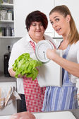 Fat and overweight women talking about nutrition — Stock Photo