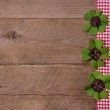 Wooden background with red and white checkered ribbon and green — Stock Photo #34149171