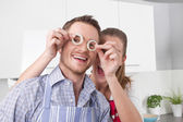 Loving couple cooking together in the kitchen — Stock Photo