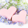 Hearts with forget-me-not flowers — Stock Photo