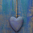 Wooden blue heart — Stock Photo #34180415