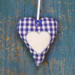 Blue Plaid Heart — Stock Photo