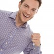 Young isolated salesman makes publicity — Stock Photo