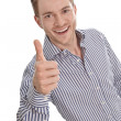 Happy young businessman - isolated with a blue shirt - thumbs up — Stock Photo