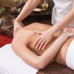Hands of a woman making massage — Stock Photo
