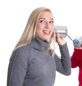 Blond smiling girl on telephone — Stock Photo