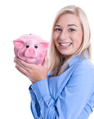 Young woman with piggy bank — Stock Photo