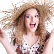Summer woman with straw hat  — Stock Photo