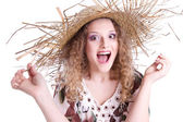 Summer woman with straw hat — Stockfoto