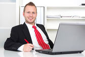 Business manager in office — Stok fotoğraf