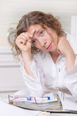 Overworked businesswoman — Stock Photo