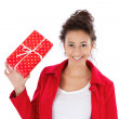 Woman with gift box — Stock Photo