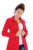 Pretty lady in red — Stockfoto