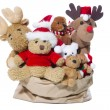 Group of christmas teddy bears or santa claus for teamwork, team — Stock Photo #34626271