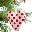 Red dotted handmade christmas red heart isolated — Stok fotoğraf