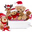 Christmas, teddy bears isolated on white background - concept fo — Zdjęcie stockowe