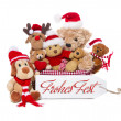 Teamwork - group of teddy bears wish merry christmas — Stock Photo