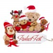 Teamwork - group of teddy bears wish merry christmas — Stok fotoğraf