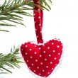 Red dotted handmade christmas red heart isolated — Zdjęcie stockowe