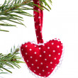 Red dotted handmade christmas red heart isolated — Stock Photo