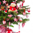 Colorfully decorated isolated Christmas tree with red decoration — 图库照片 #34626791