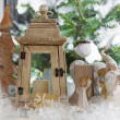 Window sill decorated with Christmas angels, lantern and a pine — Stock Photo