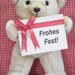 Stock Photo: Teddy bear with red and white checkered greeting card for chritmas - Frohes Fest