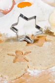 Close up of preparing gingerbread cookies for christmas — Stock Photo