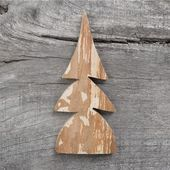 Christmas card: wooden tree on grey aged wooden background — Stock Photo