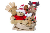 Group of christmas teddy bears or santa claus for teamwork, team — Stock Photo