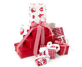 Red isolated gift boxes for christmas — Stock Photo